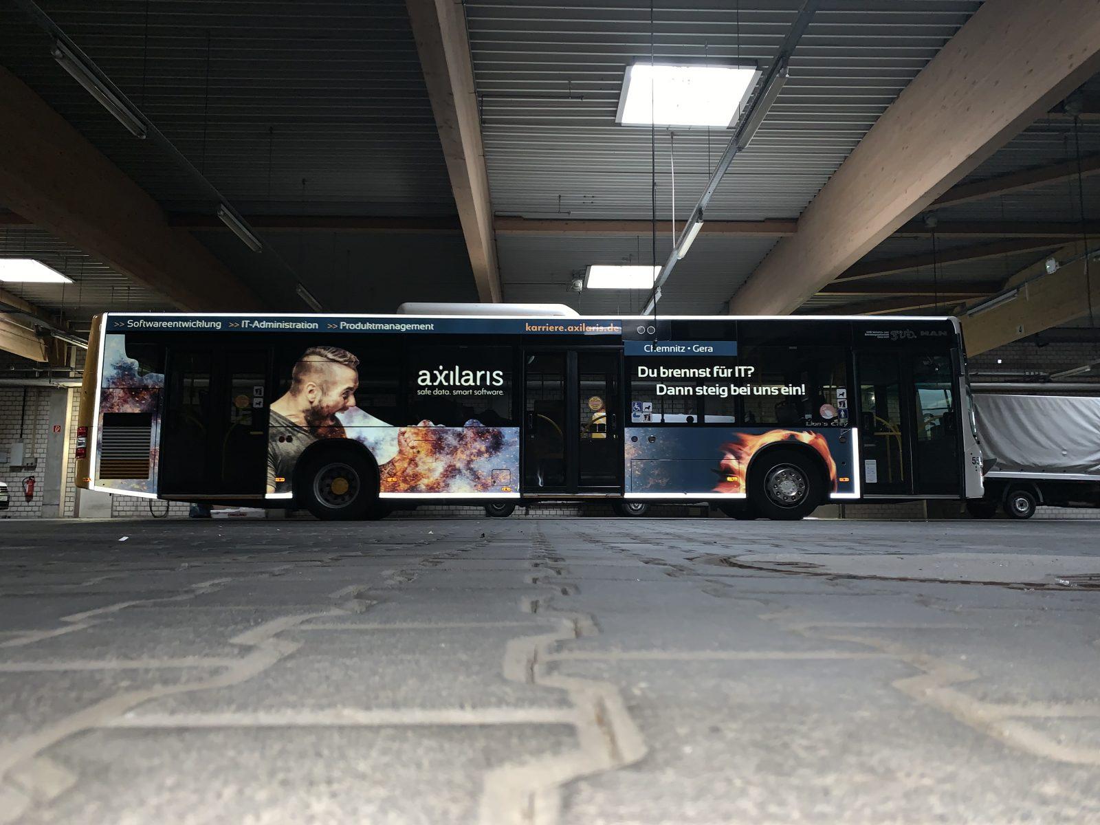 Personalgewinnung dank Buswerbung - Beispiel Axilaris