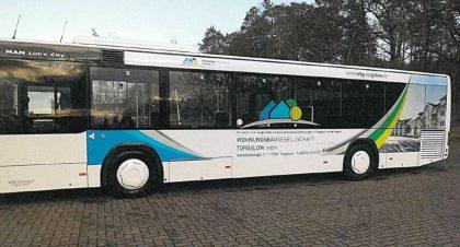 Buswerbung für die WBG Torgelow