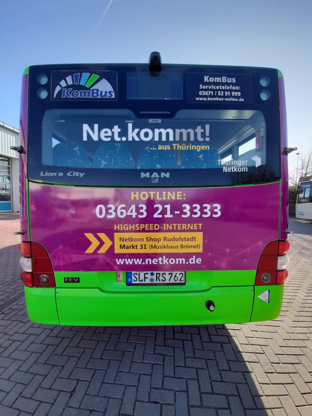 Netkomm Thüringen Buswerbung