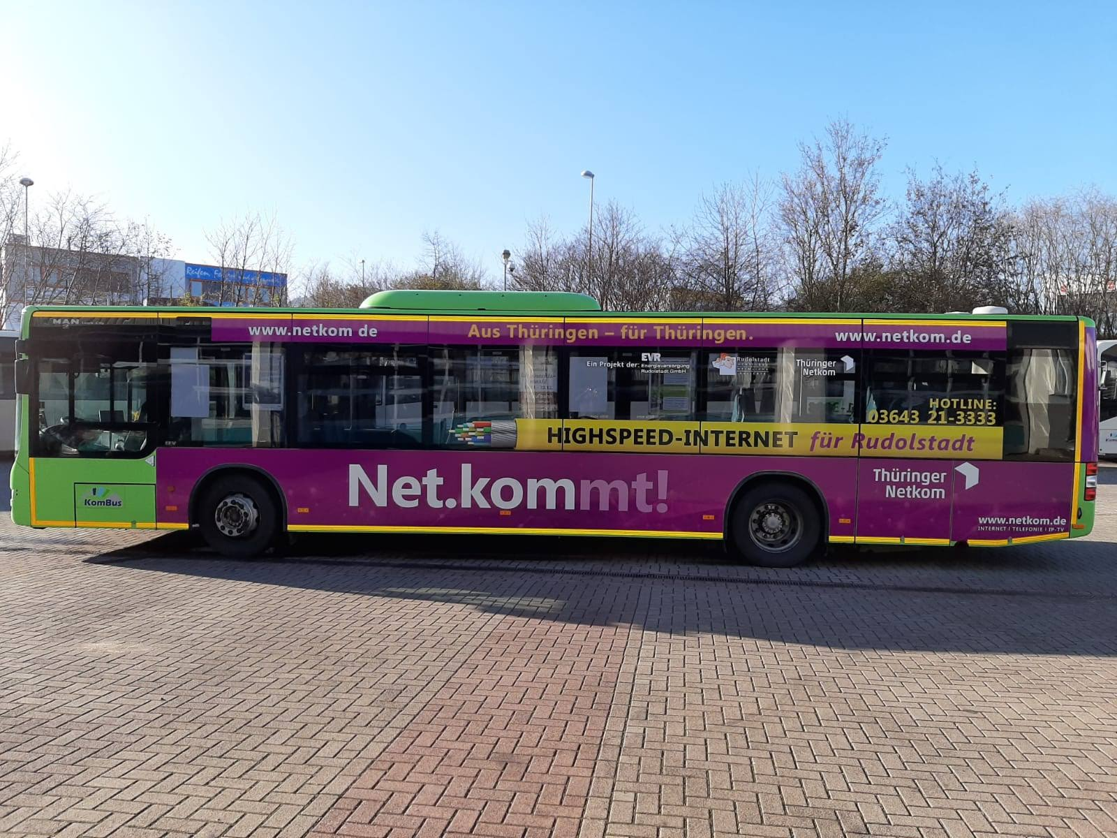 Buswerbung für die Netkom Thüringen