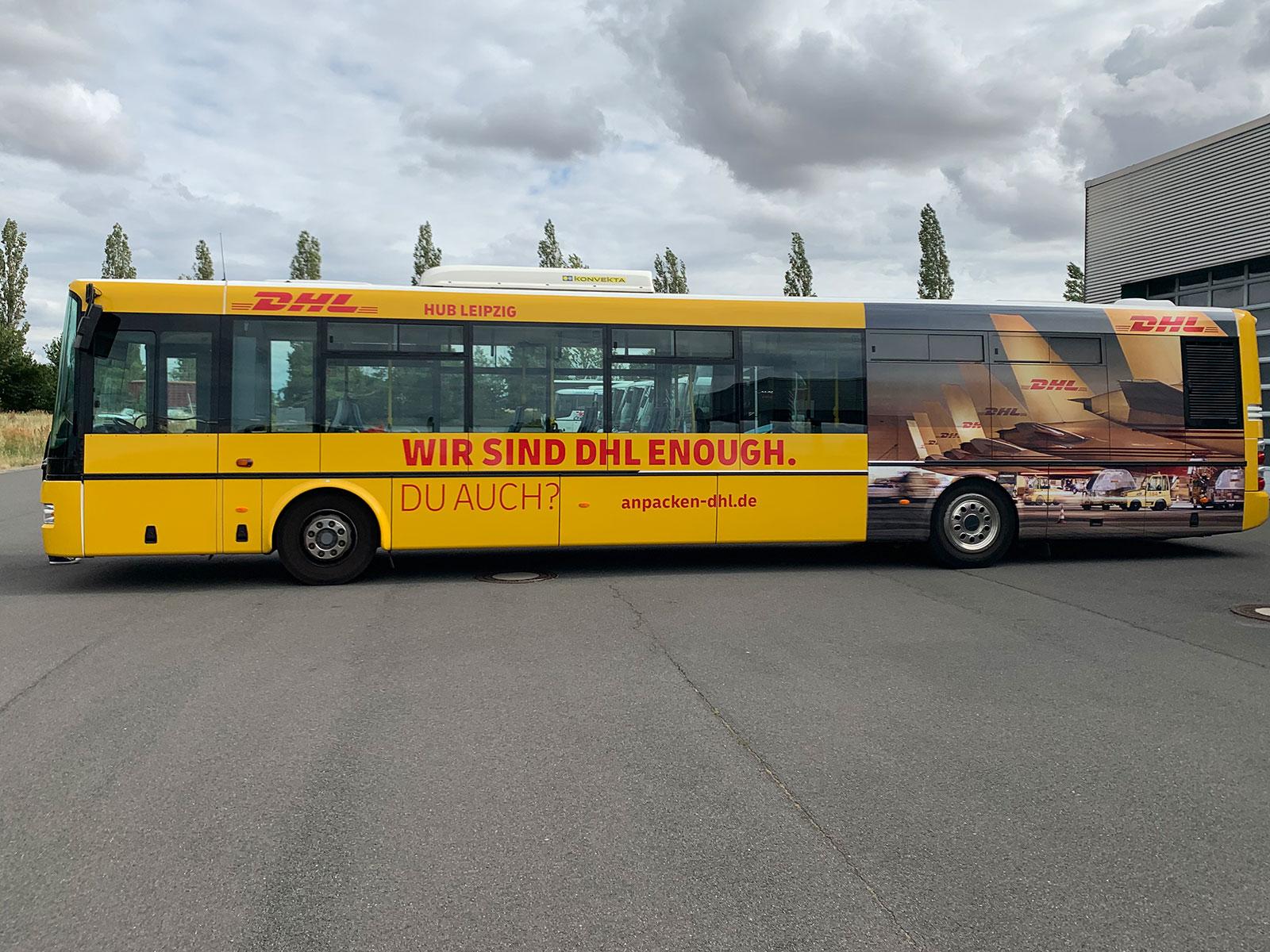 Buswerbung zur Personalgewinnung - Beispiel DHL