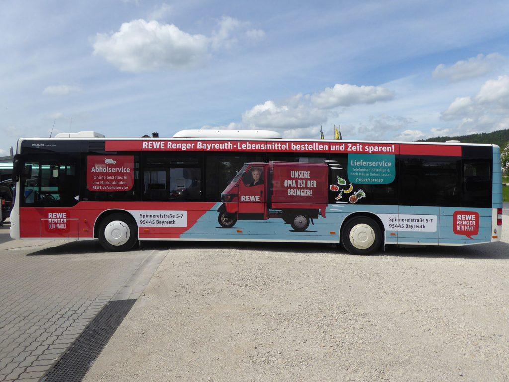 Buswerbung für REWE in Bayreuth